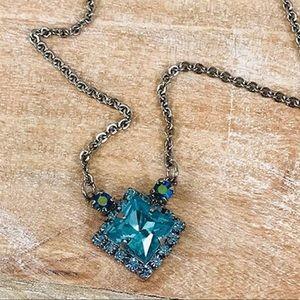 Sorrelli Blue Zircon Crystal Square Necklace,NWT